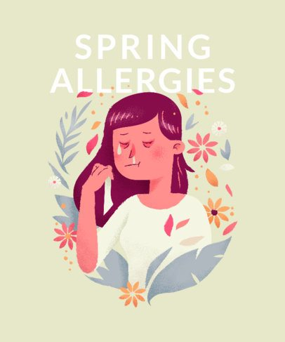 T-Shirt Design Template Featuring Funny Spring Allergy Illustrations 2303