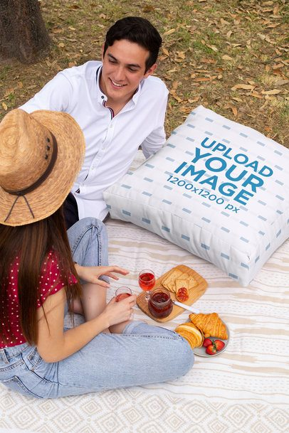 Cushion Mockup Featuring a Couple at a Park 32289