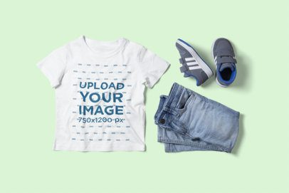 T-Shirt Mockup Featuring a Kid Outfit 2998-el1