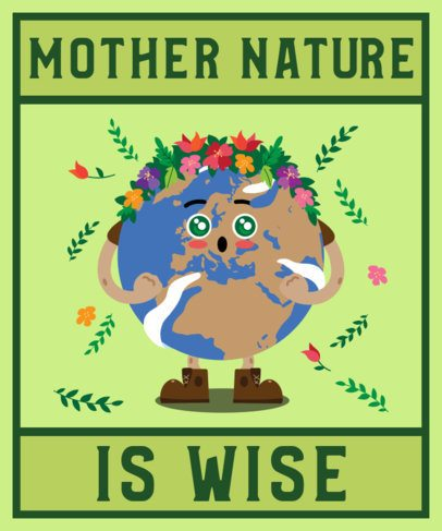 Earth Day T-Shirt Design Maker with a Mother Nature Character 2292a