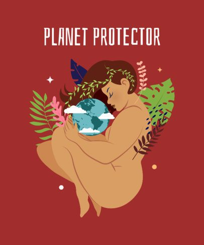 T-Shirt Design Maker with a Woman Hugging Planet Earth 2300a