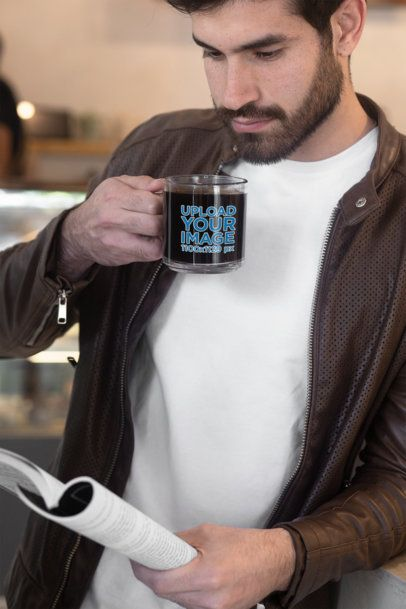 11 oz Glass Mug Mockup Featuring a Bearded Man Drinking Coffee and Reading 31769