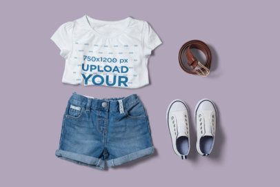 T-Shirt Mockup Featuring a Girl's Outfit and a Customizable Background 2996-el1