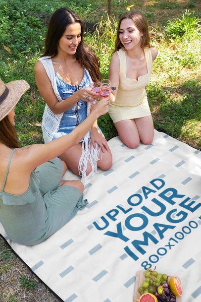 Blanket Mockup of Three Women Toasting at a Picnic 32277