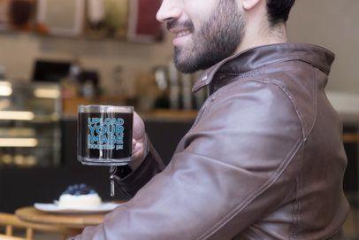 Mockup of a Bearded Man Drinking Coffee from a Glass Mug 31778