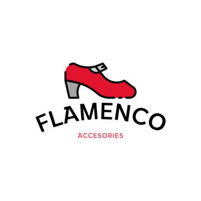 Logo Template for a Shoe Brand Featuring a Flamenco Shoe Graphic 920b-el1