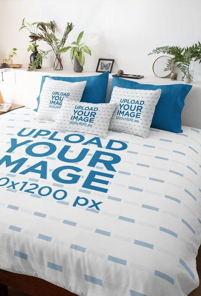 Duvet Cover Mockup Featuring a Few Pillows on a Bed 31280