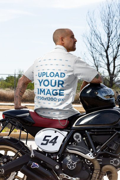 Back View Mockup Featuring a Man with a Button-Up Shirt Sitting on His Motorcycle 31841
