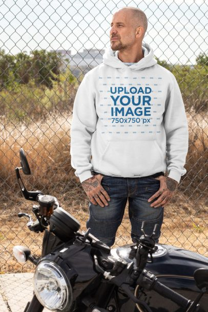 Pullover Hoodie Mockup Featuring a Tattooed Biker 31845