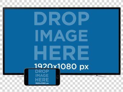 iPhone (Landscape) + TV Set Mockup Over a PNG Background a11905