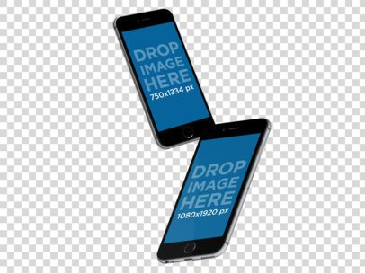 iPhone and iPhone Plus Mockup Floating in Angled Position Mockup a11872