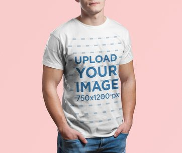 Cropped Face T-Shirt Mockup Featuring a Man at a Studio 2974-el1