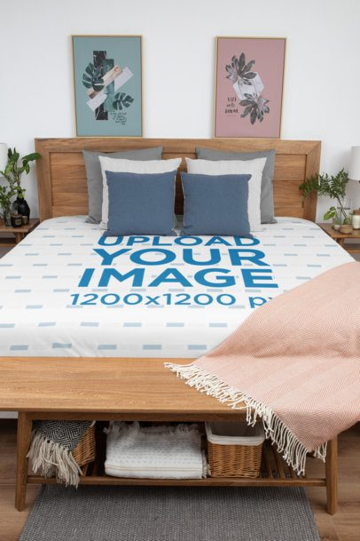 Duvet Cover Mockup Featuring a Cozy and Neat Bedroom 31325