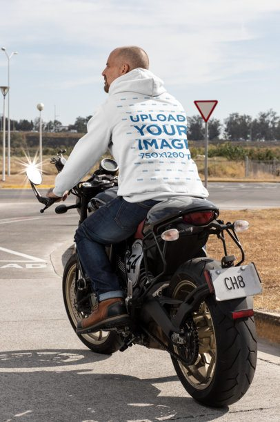 Back View Hoodie Mockup Featuring a Biker on the Road 31846