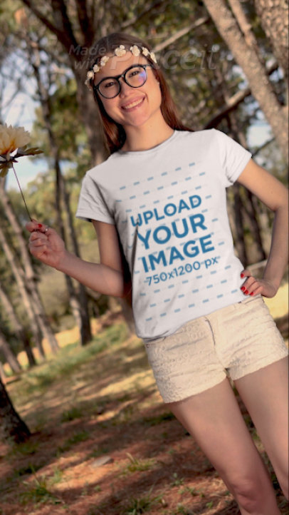 T-Shirt Video of a Woman Celebrating Spring 32717