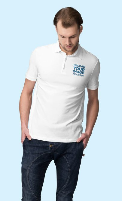 Polo Shirt Mockup Featuring a Man Looking Downwards 3190-el1