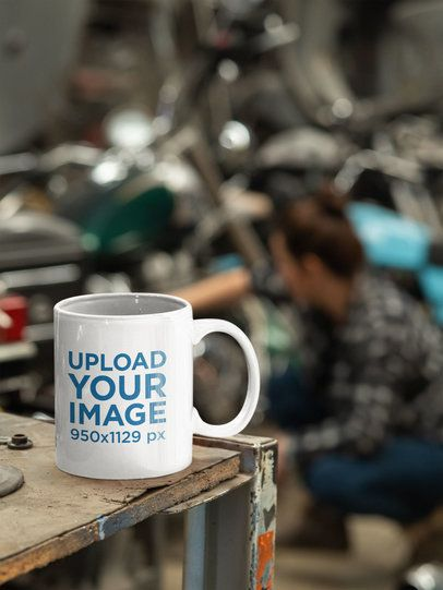 Mockup of a Coffee Mug at a Mechanic Garage 31795