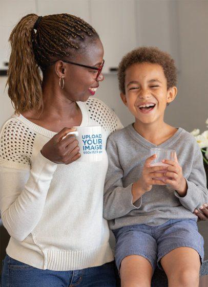 11 oz Mug Mockup Featuring a Mom and Son Smiling 32663