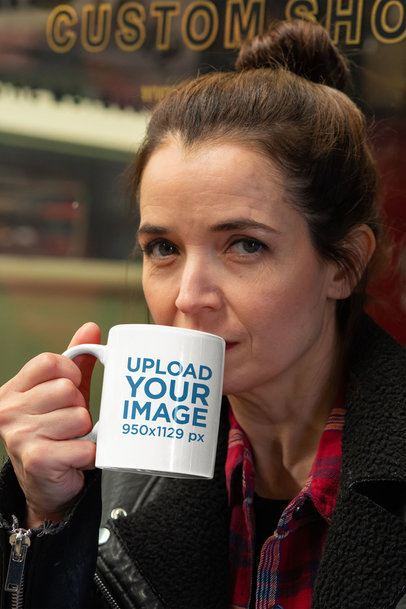 Mockup of a Serious Woman Drinking From an 11 oz Mug While Looking at the Camera 31793
