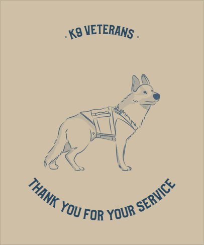 T-Shirt Design Template Featuring Canine Service Dog Graphics 2316