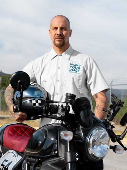 Button Up Shirt Mockup of a Tough Man with His Motorcycle 31789