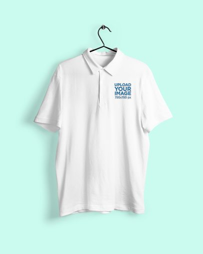 Mockup of a Men's Polo Shirt Hanging Against a Customizable Background 3195-el1