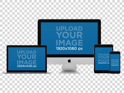iMac, MacBook Pro, iPad Mini and iPhone Mockup Over a Null Background a11876