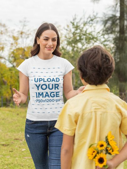 Mockup Featuring a Happy Mother Wearing a T-Shirt and His Son Holding Some Flowers 32632