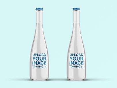 Mockup of Two Tall Glass Water Bottles 3064-el1