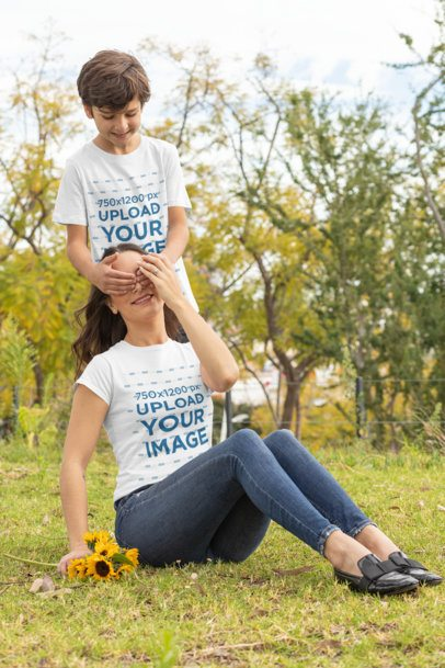 T-Shirt Mockup Featuring a Boy Playing with His Mom 32639