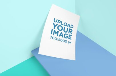 A4 Poster Mockup Featuring a Multicolor Setting 3168-el1