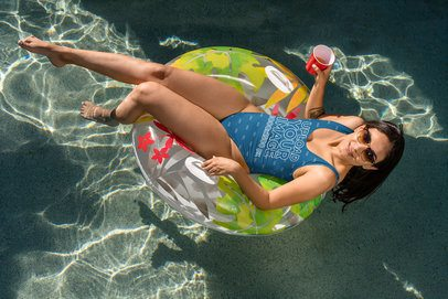 Swimsuit Mockup Featuring a Woman at a Spring Break Party 32681