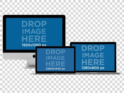 Desktops Responsive Mockup of Macbooks Pros, Macbook Air and iMac a11899