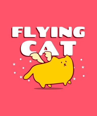 T-Shirt Design Template for Kids Featuring a Flying Cat Graphic 416c-el1
