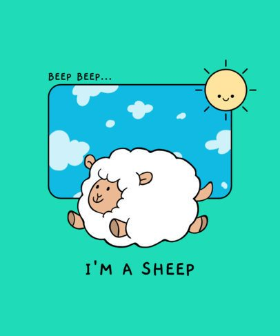 Kids T-Shirt Design Creator with a Joyful Sheep Illustration 406c-el1
