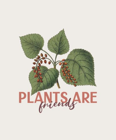 Illustrated T-Shirt Design Maker with a Plant Graphic and a Quote 383a-el1