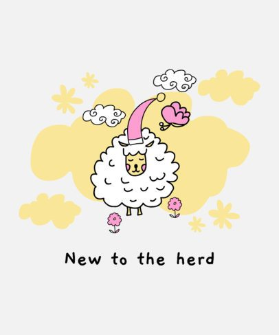 Kids T-Shirt Design Creator with a Cute Sheep Graphic 407b-el1