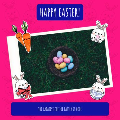 Instagram Post Template with Easter Bunny Graphics 2323a