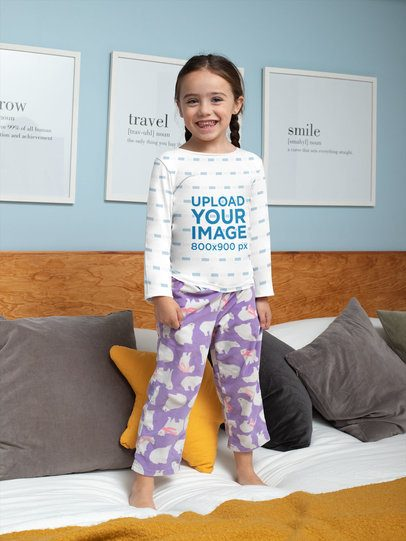 Sublimated Long Sleeve Tee Mockup of a Girl Playing at Home 31695
