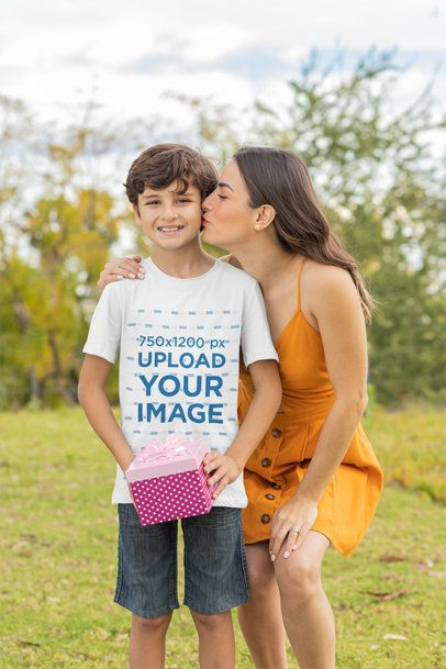T-Shirt Mockup Featuring a Mom Kissing Her Son 32643