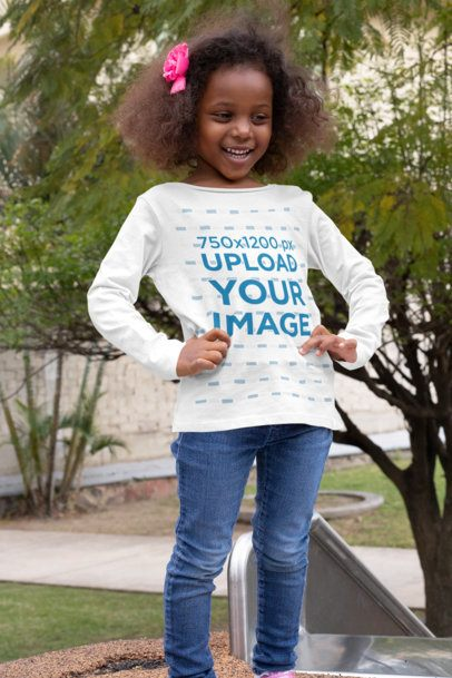 Long Sleeve Tee Mockup of a Happy Girl with a Flower on Her Hair 32181