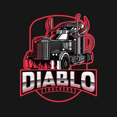 Moving Company Logo Maker with a Horned Trailer Truck Illustration 3014g