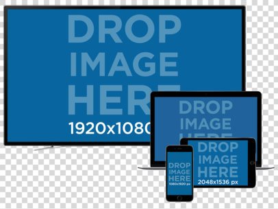 TV + Macbook Pro + iPad and iPhone Responsive Mockup Over a Null Background a11926