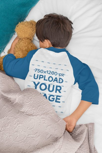 Raglan Three-Quarter Sleeves Tee Mockup Featuring a Boy Sleeping 32176