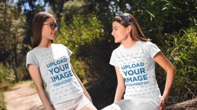 Video of Two Women Wearing T-Shirts on a Sunny Day 32721