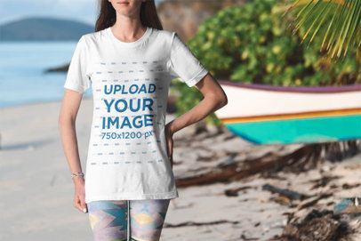 T-Shirt Mockup of a Woman Standing Near a Panga Boat by the Beach 3305-el1