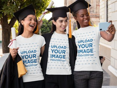 T-Shirt Mockup Featuring Three Smiling Friends at Their Graduation Day 32563