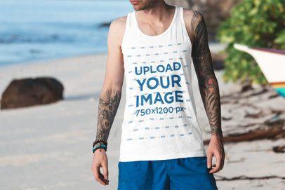 Tank Top Mockup of a Tattooed Man at the Beach 3307-el1