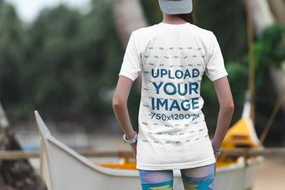Back View T-Shirt Mockup of a Woman Standing by a Boat 3323-el1