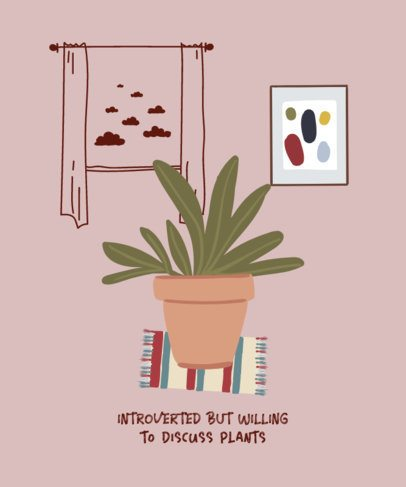 T-Shirt Design Generator for Introverts With a House Plant Clipart 529a-el1